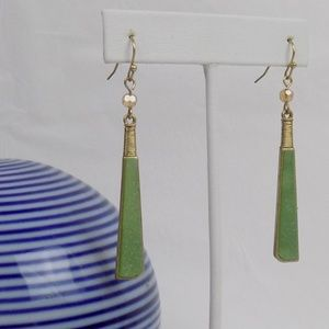 anthropologie green stone dangle earrings
